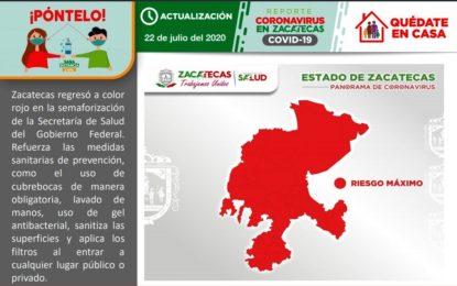 Reporte de este miércoles 22 de julio, respecto a la situación del COVID-19 en Zacatecas